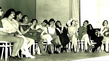 Kitson (in large hat) at a 1959 Sydney University Dramatic Society revue.