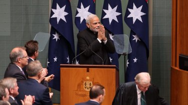 Indian Prime Minister Narendra Modi addresses the Australian Parliament.
