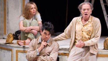 Jessica Marais, James Stewart and Trevor Stuart in Louis Nowra's comedy <i>Cosi</i>, playing at La Boite.