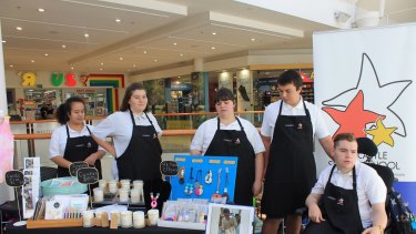 Newcastle Senior School students selling their Chances products at a pop-up shop.