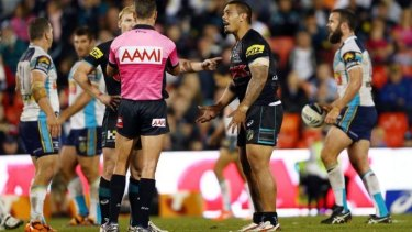 'He grabbed him on the nuts': Penrith skipper Peter Wallace and Sika Manu argue with the referee after an apparently wayward tackle by Greg Bird.