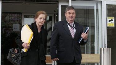 David Eastman's lawyers, Helen Hayunga and Richard Davis leave the ACT Supreme Court.