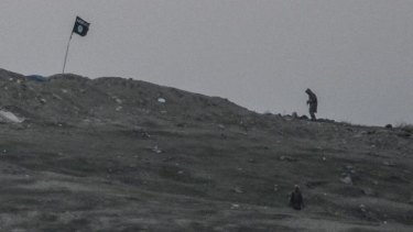 Islamic State militants on the hill before the air strike.