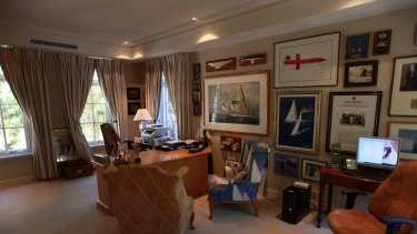 Mr Bond's study at his home in Cottesloe.