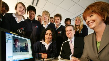 Julia Gillard with students from Essendon East Keilor District College yesterday.