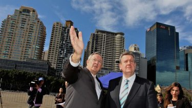 Desperate times ... Planning Minister Brad Hazzard, left, pictured with NSW Premier Barry O'Farrell.