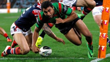 Multi-talented: Alex Johnston of the Rabbitohs has a phenomenal try-scoring strike rate.