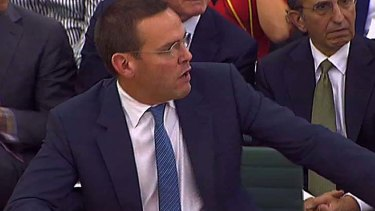 James Murdoch gives evidence before the parliamentary committee this week.