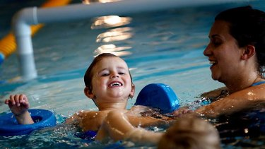 Swimming to success ....  3 year old Lincoln Treb with instructor Elice Clancy at the Paul Sadler Swimland Centre.