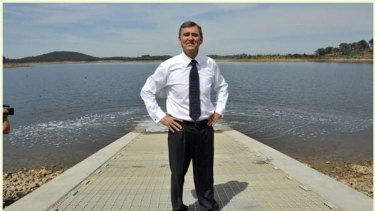 Water flows underneath Premier John Brumby after he started pumping water out of the Goulburn River into Sugarloaf Reservoir via the North South pipeline in February.