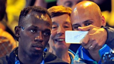 Not a happy selfie ... Usain Bolt at the netball on Thursday.