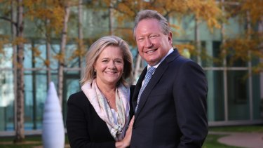 Philanthropists Andrew and Nicola Forrest in Parliament House, Canberra on Monday.