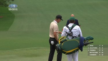 The third round of the Masters was interrupted by rain midway through proceedings for many golfers.