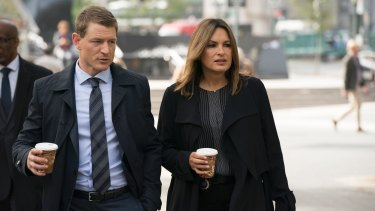 Philip Winchester as Peter Stone, with Mariska Hargitay as Lieutenant Olivia Benson  in  Law and Order SVU.