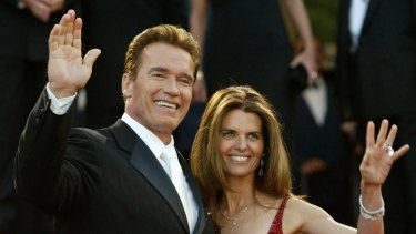 Happier times ... Arnold Schwarzenneger and his wife Maria Shriver walk the red carpet at Cannes to promote <I>Terminator 3</i>.