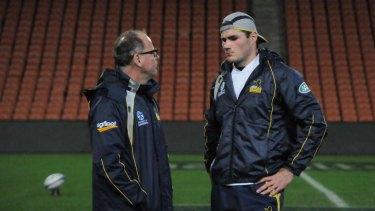 Former Brumbies coach Jake White with captain Ben Mowen.