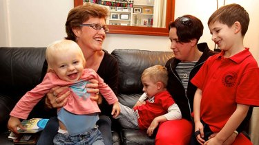 Observed a marked maturity: Lynne Martin (left) and Michelle McCormack with their sons Finlay, 1, Angus, 4, and Tom, 7.