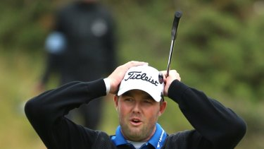 So close: Marc Leishman reacts after a putt on the 17th green during the final round at the British Open.