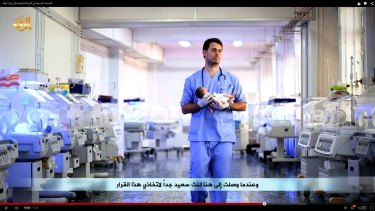 Perth doctor Tareq Kamleh appearing in an ISIS video.