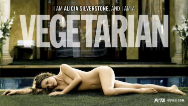 A 2007 advertisement for the People for the Ethical Treatment of Animals showing  actress Alicia Silverstone  appearing naked to promote vegetarianism. Researchers say sexualised advertisements are less likely to persuade viewers to support the cause.