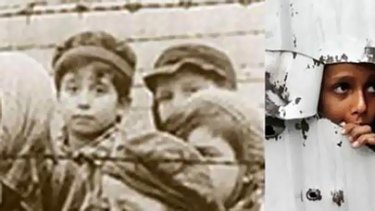 One of the pairs of images of the Holocaust and Palestinians sent by Australian Federation of Islamic Councils chairman Ikebal Patel.