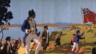 Land ho ... a travel poster's picturesque portrayal of Captain Cook's landing at Botany Bay in 1770.