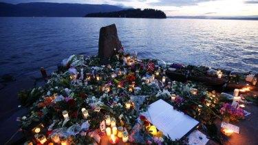 A memorial on Utoya island for the victims of Anders Behring Breivik's shooting spree.