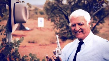 Maverick MP Bob Katter in an election advertisement that showed him pretending to shoot political opponents.