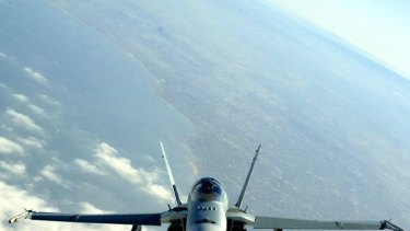 A Royal Australian Air Force F/A-18 in flight.