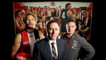 St Kilda lobbied the AFL for the league's first Pride game. Chief executive Matt Finnis (centre), pictured with Sam Gilbert and coach Alan Richardson, says the club will not be deterred by protests.