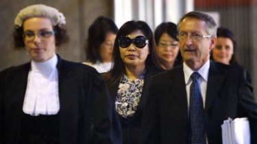 Helen Liu leaves the Supreme Court in Sydney in 2011.