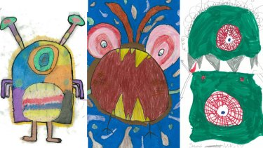 Three of the school childrens' hand drawn monsters which may be turned into six-metre high puppets.