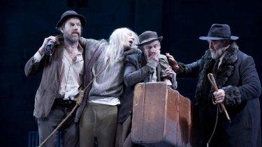 Hugo Weaving, Luke Mullins, Richard Roxburgh and Philip Quast in Sydney Theatre Company's <em>Waiting For Godot</em>.