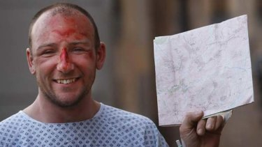 Fell down a mountain ... Adam Potter was found reading a map.