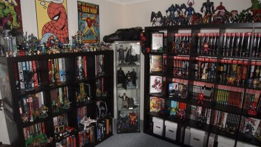 "Luke Caporn calls his room of collectables his ""geek den""."