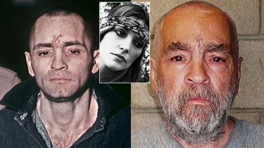 Mass murderer Charles Manson then and now and, inset, one of his victims, Sharon Tate.