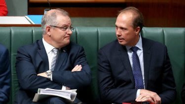 Treasurer Scott Morrison and Immigration Minister Peter Dutton during question time on Monday.
