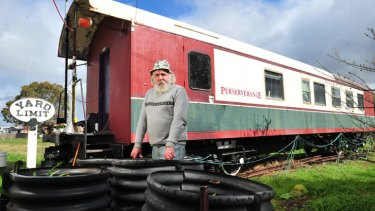 Talbot resident Ralph Durr lives in a train carriage at the old railway station site.