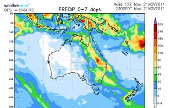 A chart which gives a rough guide to accumulated rainfall totals (in millimetres) over the next seven days.