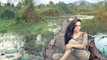 Natural look ... Angelina Jolie in Cambodia for the Louis Vuitton's 'Core Values' campaign.