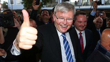 Thumbs up: Kevin Rudd on the campaign trail in western Sydney.