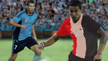 What might have been ... if the Sydney Rovers had got off the ground, Brett Emerton and Tim Cahill might have been squaring off at ANZ Stadium this weekend (image digitally altered).
