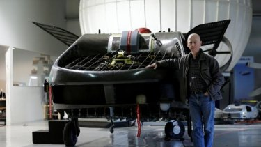 Rafi Yoeli, founder and CEO of Urban Aeronautics, stands next to a prototype of the Cormorant, a drone, at the company's workshop in Yavne, Israel.