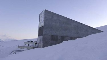 The entrance to the Global Seed Vault in Norway.
