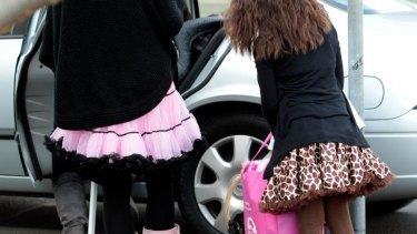 Children arrive for a beauty pageant in Northcote.