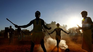 Gumatj clan ceremonial leaders performing the Gurtha ceremony at the opening ceremony of the First Nations National Convention in Uluru.