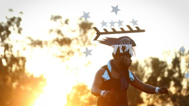 Performers from Thursday Island during the opening ceremony of the First Nations National Convention in Uluru.