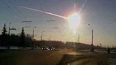 A meteor streaks through the sky over Chelyabinsk, Russia.
