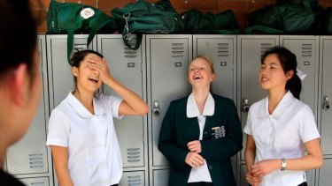 Pretty easy ... Jordana Zonaras, Jessie Tugwell and Simone Chin were not put off by the specific focus of the first HSC English paper yesterday.