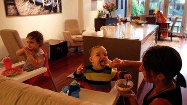 No choice: Francesca Marigonda, with children Sofia, 2, and Nathaniel, 1, has a nanny so she can work as a trainer.